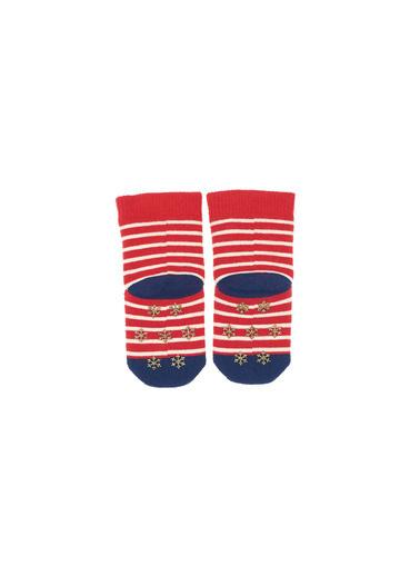 Katia & Bony Çizgili Kız Bebek Çorap  Kırmızı